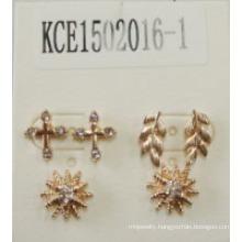 Leaves Flower Set Earrings with Metal and Gems