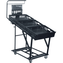 Diseño moderno venta caliente verduras estantes estante vegetal plástico estante vegetal sobre ruedas