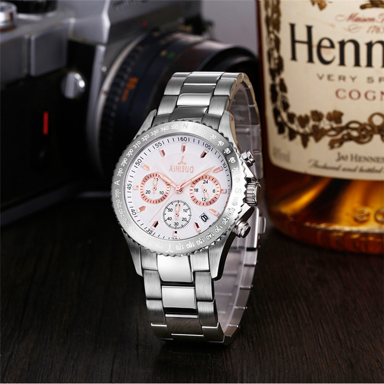 Stainless steel good quality business watch waterproof
