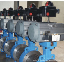 Pneumatic Actuated Double Flanged&Wafer/Lug Butterfly Valve