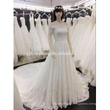100% Real Photos Custom Made Luxurious boat Neck 3/4 Sleeves Frence Lace Long Train Saudi Arabian Muslim Alibaba Wedding Dress