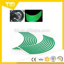 """8mm Verde Reflexiva Rim Tape Stripe Decalque Guarnição Para Motocicleta Carro 16 """"17"""" 18 """""""
