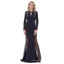 Kate Kasin Sexy Womens Long Sleeve See-Though Polka Dots Keyhole Black Long Evening Prom Party Dress KK000208-1
