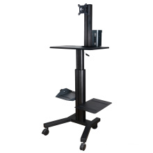 """Mobile Computer Workstation Gas Lift/Trolley Single Monitor 10-24"""" Adjustable (GAS 1601A)"""