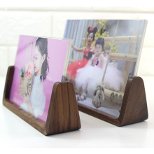 Cheap and Fine  A4 Natural Picture Tabletop Display Wood Glass Creative U-Shaped Base Photo Frame