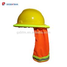 Ombre de soleil de casque de bouclier de cou de chapeau de sécurité de maille de visibilité élevée avec la bande réfléchissante et la bande élastique orange