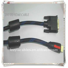 Câble HDMI haute qualité 1,5 m DVI24 + 1 à HDMI mâle à mâle nylon 2Ferrit pour la vidéo standard, améliorée et haute définition