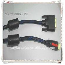 Позолоченное высококачественное золото 1,5 м от DVI24 + 1 до кабеля HDMI для мужского нейлона 2Ferrit для стандартного, расширенного и видео высокого разрешения