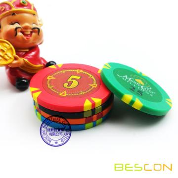 Bescon High Quality New Style Clay Poker Chips with Custom Sticker