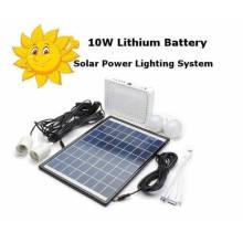 Batería de Litio de 10W Sistema de Iluminación de Energía Solar Panel Kit Cargador de Banco Portable
