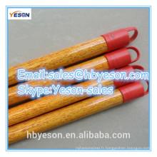 Bâton de balai en bois avec revêtement de pvc en grains de bois