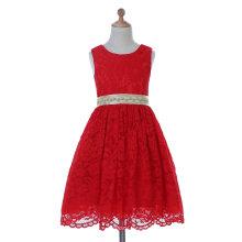 Diseñador de marfil / rojo / púrpura vestido de niña de flores para la boda y Ceremonial