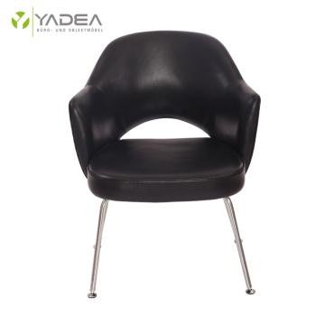 Élégant fauteuil de direction Saarinen en cuir véritable
