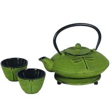 Japanische Art Grüne Gusseisen Teekanne mit Cups und Trivet