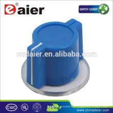 Perilla del interruptor giratorio azul KN-2618, perilla de plástico con borde perno de 6 mm