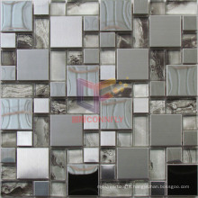 Silver Mirror Face and Grind Face Mixed Stainless Steel with Crystal Mosaic (CFM1015)