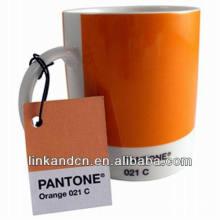 Haonai 11oz orange ceramic mugs with pantone No.