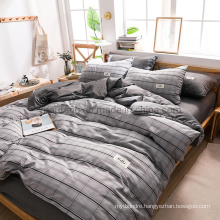 Made in China Apartment Stain Resistant Modern Design Cotton Bedding Set Gray Plaid