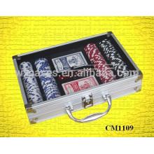 caso de acrílico canto quadrado 200 alumínio poker cartão
