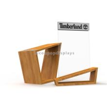 Zapato de encargo creativo de la madera del arce Los soportes de la tienda exhiben el mostrador Los zapatos de acrílico comerciales colocan el soporte