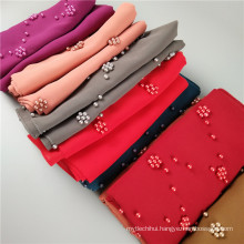 Chinese supplier elegant pearl chiffon beads turkey dupatta hijab women malaysia muslim head scarf
