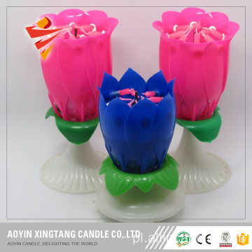 Flower Music Birthday Candle świeca kwiat lotosu amazonka