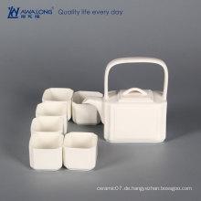 Nach Maß traditionelle arabische elegante weiße länglich geformte Hausgebrauch keramische Teekanne mit Schalensätzen