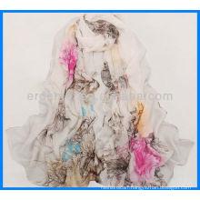 Printing women satin scarf dress