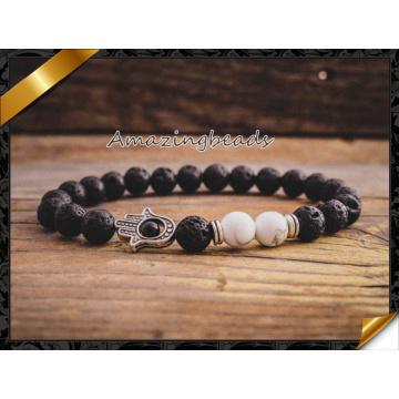 Black Lava Stone Beaded Bracelet, Sliver Charm Bracelet for Men and Womens Gift Jewelry (CB051)