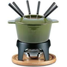 Eco-Friendly Enamel Cast Iron Cheese Pot with Fork