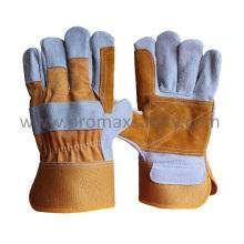 Yellow Reinforced Palm Rubberized Cuff Cow Split Leather Glove