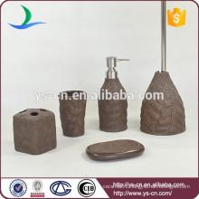 Sales Promotion Leaf Shape Brown Ceramic Cheap Bath Set
