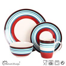 16PCS Stripe Handpainting Ceramic Dinner Set