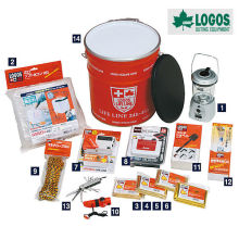 Light weight 14 piece set survival & disaster kit can for survival. Manufactured by Logos. Made in Japan (Emergency lantern)
