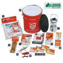 Kit de sobrevivência e kit de desastre de peso leve de 14 peças para sobrevivência. Fabricado por Logos. Feito no Japão (purificador de água)