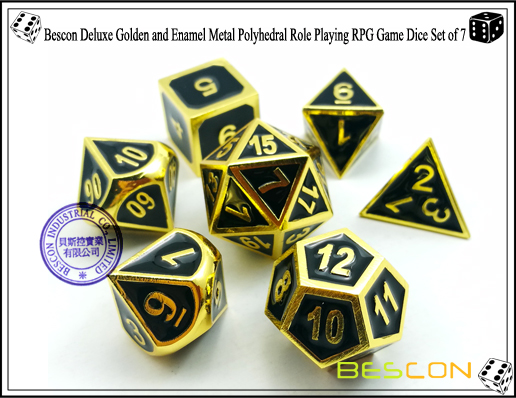Bescon New Style Deluxe Golden and Enamel Solid Metal Polyhedral Role Playing RPG Game Dice Set (7 Die in Pack)-2