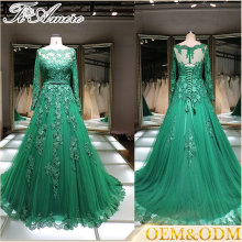Senhoras verdes escuras Custom Made Designs Full Length Long Evening Party Wear long sleeve evening