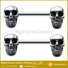 Surgcial acero esmalte cráneo patrón pezón anillo cuerpo joyería