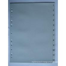 12 pages couleur grise PP Index diviseur avec numéro imprimé (BJ-9024)