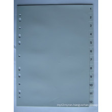 12 Pages Grey Color PP Index Divider With Number Printed (BJ-9024)