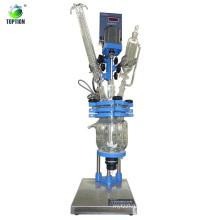 Высокое качество лаборатории использовать мини-химических рубашкой стеклянный реактор 2л,50-800 об / мин