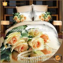 2016 Newest design Rose pattern luxury romantic hot sale 3d bedding set