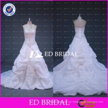 ED Bridal Sweetheart Lace Up Cinto de arco Beaded Satin Alibaba Vestido de casamento por atacado