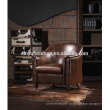Silla de cuero tapizada francés del vintage, nuevo sofá clásico del roble de madera sólida canalizado A611