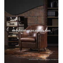 French Vintage Upholstered leather Chair, New Classic Solid Wood Oak single sofa chaised A611