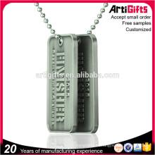 Wholesale Cheap Custom Zinc Alloy Metal Blank Men Dog Tag With Ball Chain