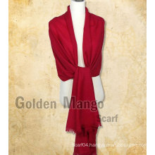 Plain /solid color 100% wool pashmina shawl