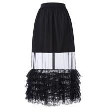 Belle Poque Retro Vintage Sexy Women's Ruffled Lace Hem See-Through Long Skirt BP000348-1