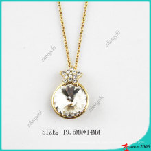 Collier de mode en cristal rond de ton or (PN)