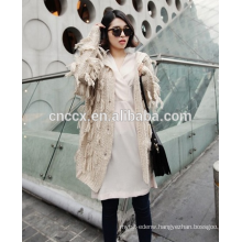 15JW314 2016 woman crochet cardigan coat with tassels